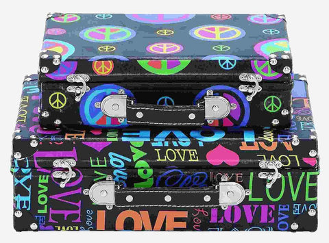 41019 Peace Love Canvas Wood Suitcase Storage Box Set/2 by Benzara
