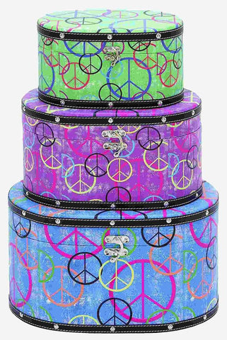 41030 Peace Sign Canvas Wood Oval Hat Box Storage Set/3 by Benzara
