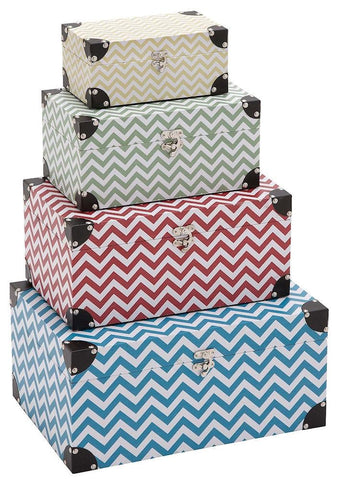 41054 Zig Zag Pattern Wood Vinyl Rectangular Storage Box Set of 4 by Benzara