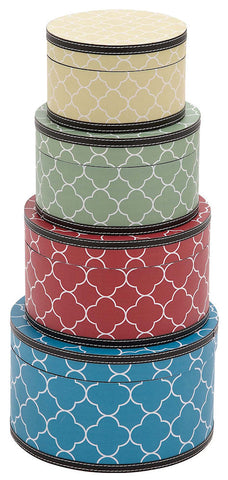 41055 Quatrefoil Pattern Vinyl Wood Round Hat Box Storage Set of 4 by Benzara