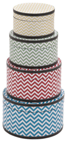 41056 Zig Zag Pattern Wood Vinyl Round Hat Box Storage Set of 4 by Benzara