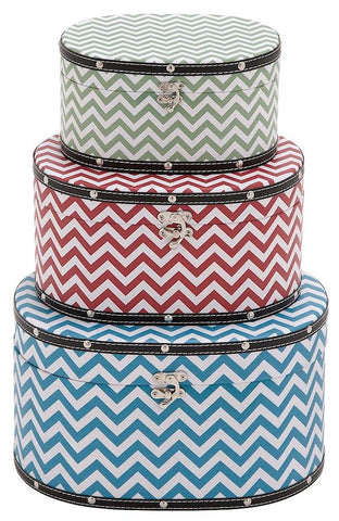 41058 Zig Zag Pattern Wood Vinyl Oval Hat Box Storage Set of 3 by Benzara