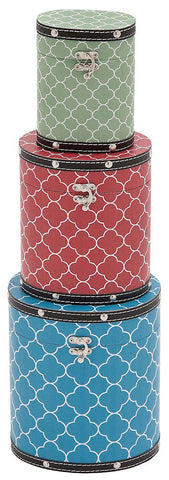 41059 Quatrefoil Pattern Vinyl Wood Tall Oval Hat Box Storage Set of 3 by Benzara