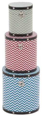 41060 Zig Zag Pattern Wood Vinyl Tall Oval Hat Box Storage Set of 3 by Benzara