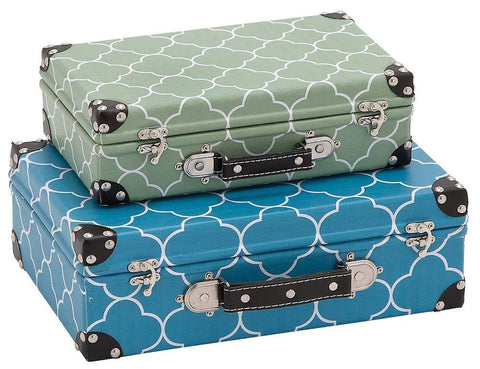 41063 Quatrefoil Pattern Vinyl Wood Suitcase Storage Box Set of 2 by Benzara
