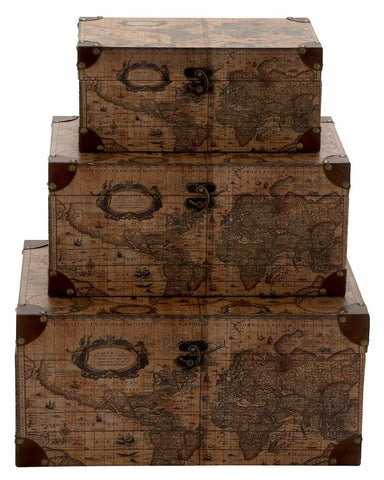 41067 Age of Discovery Faux Leather Wood Rectangular Storage Box Set of 3 by Benzara