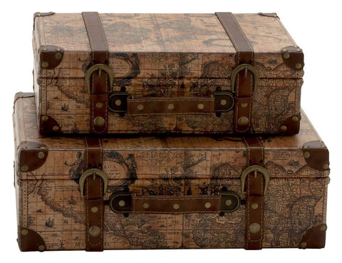 41068 Age of Discovery Faux Leather Wood Suitcase with Straps Box Set of 2 by Benzara