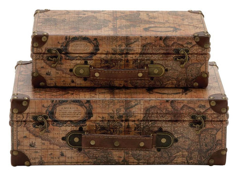 41069 Age of Discovery Faux Leather Wood Suitcase Storage Box Set of 2 by Benzara