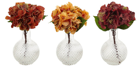 4129-S3 Autumn Hydrangea Set/3 Faux Flowers in Water by Nearly Natural | 12""
