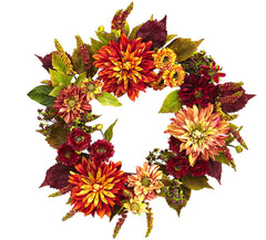 4131 Dahlia & Mum Artificial Autumn Wreath by Nearly Natural | 22 inches