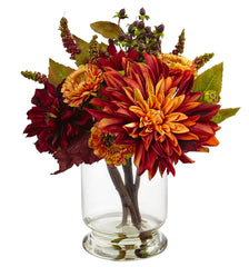 4132 Dahlia & Mum Artificial Flowers in Water by Nearly Natural | 12 inches