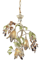 86051 Huarco 3-Lite Chandelier w/Crystal & Hand-Blown Shades ELK Lighting