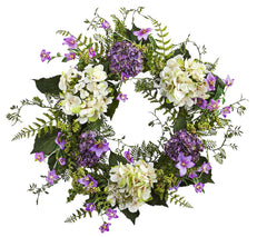 4531 Hydrangea & Berry Artificial Silk Wreath by Nearly Natural | 25 inches