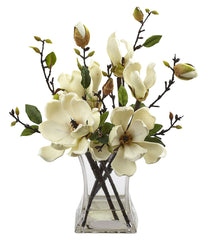 4534-WH Magnolia Artificial Flowers with Vase in Water by Nearly Natural | 15""