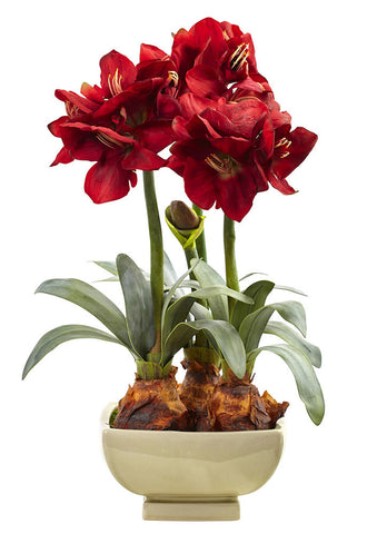 4536-RD Amaryllis Silk Holiday Flowers with Planter by Nearly Natural | 26""
