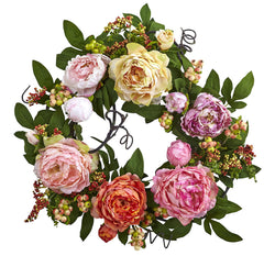 4537 Mixed Peony & Berry Artificial Wreath by Nearly Natural | 20 inches