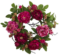 4538 Peony & Berry Artificial Silk Wreath by Nearly Natural | 20 inches