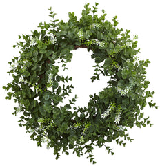 4541 Eucalyptus Silk Double-Ring Wreath by Nearly Natural | 18 inches