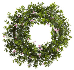 4543 Mini Ivy & Floral Silk Double-Ring Wreath by Nearly Natural | 18""