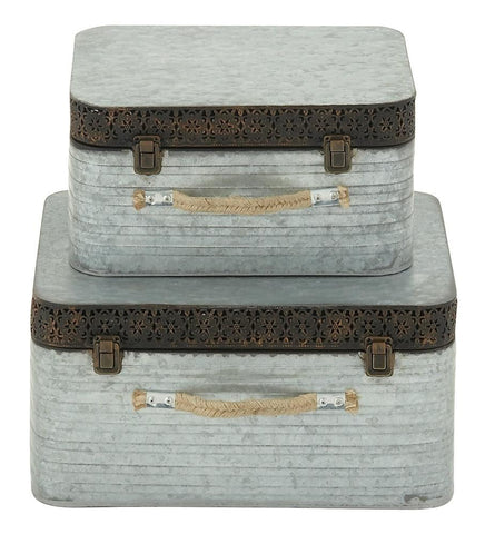 48561 Floral Cutout Metal Rope Rectangular Storage Box Set of 2 by Benzara