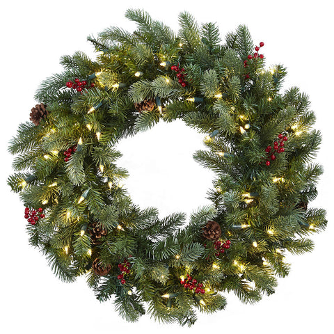 4860 Pine Berries Pine Cones Holiday Wreath Lights by Nearly Natural | 30""