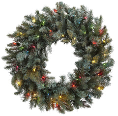 4862 Pine Silk Holiday Wreath with Colored Lights by Nearly Natural | 30""
