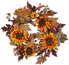 4867 Sunflower & Berry Artificial Silk Wreath by Nearly Natural | 24 inches