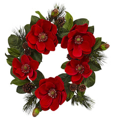 4869 Red Magnolia & Pine Silk Holiday Wreath by Nearly Natural | 24 inches