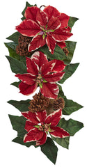 4872 Poinsettia Pine Cone Burlap Holiday Teardrop by Nearly Natural | 25""