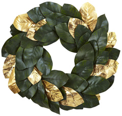 4873 Magnolia & Golden Leaf Silk Holiday Wreath by Nearly Natural | 22""