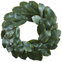 4874 Magnolia Leaf Artificial Wreath by Nearly Natural | 24 inches