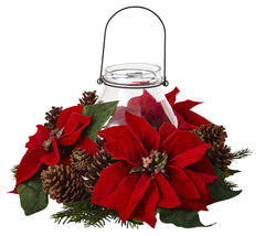 4875 Poinsettia & Pine Cone Holiday Candelabrum by Nearly Natural | 8.75""