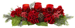 4876 Red Hydrangea Silk Candle Holiday Candelabrum by Nearly Natural | 24""