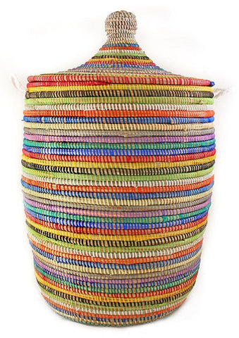 sen10t Rainbow Stripe Medium Traditional Laundry Hamper Storage Basket | Senegal Fair Trade by Swahili Imports