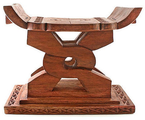 ghana-1a Asante Nsaa Adinkra Symbol Wood Stool | Ghana Fair Trade by Swahili Imports