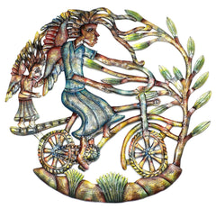 HMDPBIKE-RR2-4 Hand Painted Angels on Bicycle Oil Drum Art 24"
