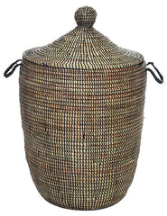 sen10g Black Medium Traditional Laundry Hamper Storage Basket | Senegal Fair Trade by Swahili Imports