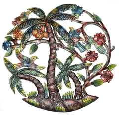 HMDPPALM-RR2-3 Hand Painted Palm Trees Oil Drum Metal Wall Art 24"