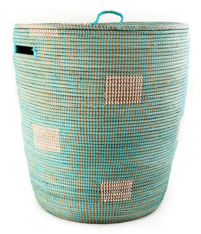 sen40n Aqua with White Dots Medium Sahara Woven Laundry Hamper Basket | Senegal Fair Trade by Swahili Imports