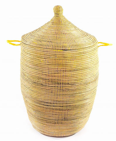 sen11p Yellow Large Traditional Laundry Hamper Storage Basket | Senegal Fair Trade by Swahili Imports
