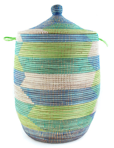 sen11r Tropical Sea Chevron Large Traditional Laundry Hamper Storage Basket | Senegal Fair Trade by Swahili Imports