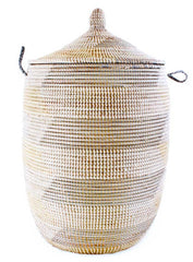 sen11q Silver Cream & White Chevron Large Traditional Hamper Storage Basket | Senegal Fair Trade by Swahili Imports