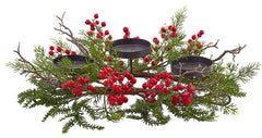 4887 Berry & Pine Artificial Holiday Candelabrum by Nearly Natural | 22""