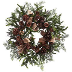 4888 Pine & Pine Cone Faux Holiday Wreath w/Burlap by Nearly Natural | 24""