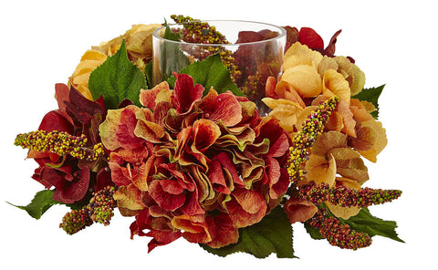 4896 Autumn Hydrangea Silk Candelabrum by Nearly Natural | 6 inches