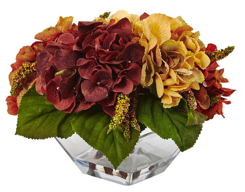 4897 Autumn Hydrangea & Berry Faux Flowers in Water by Nearly Natural | 10""