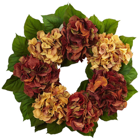 4898 Autumn Hydrangea Artificial Silk Wreath by Nearly Natural | 24 inches