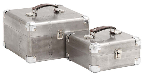 50249 Retro Design Aluminum Wood Faux Leather Square Storage Box Set of 2 by Benzara