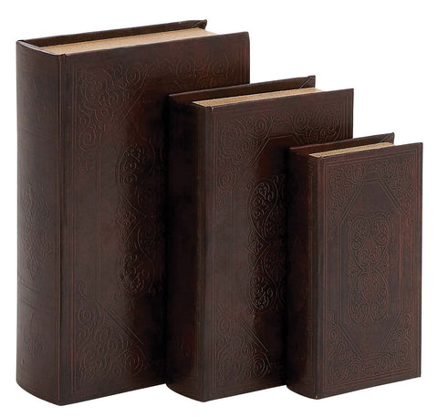 50259 Fleur de Lis & Scrolls Faux Leather Wood Book Box Set/3 by Benzara
