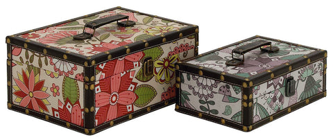 50281 Vintage Floral Pattern Vinyl Wood Rectangular Storage Box Set of 2 by Benzara